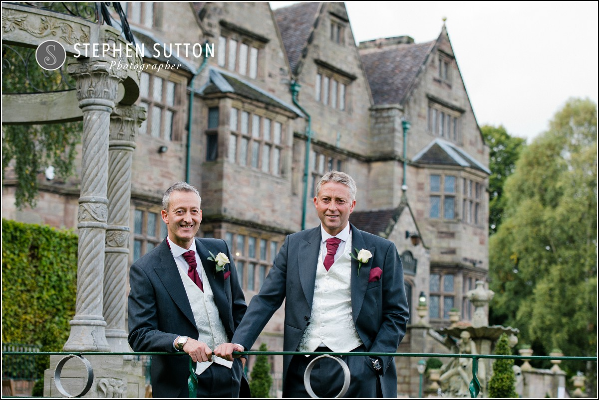 groom and best man on the terrace at weston hall