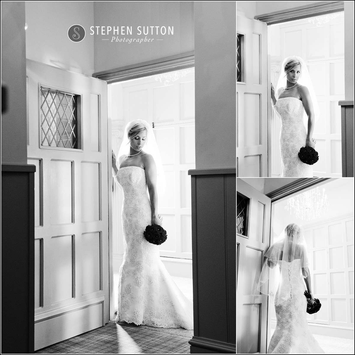 Black and White images of bride at Weston Hall