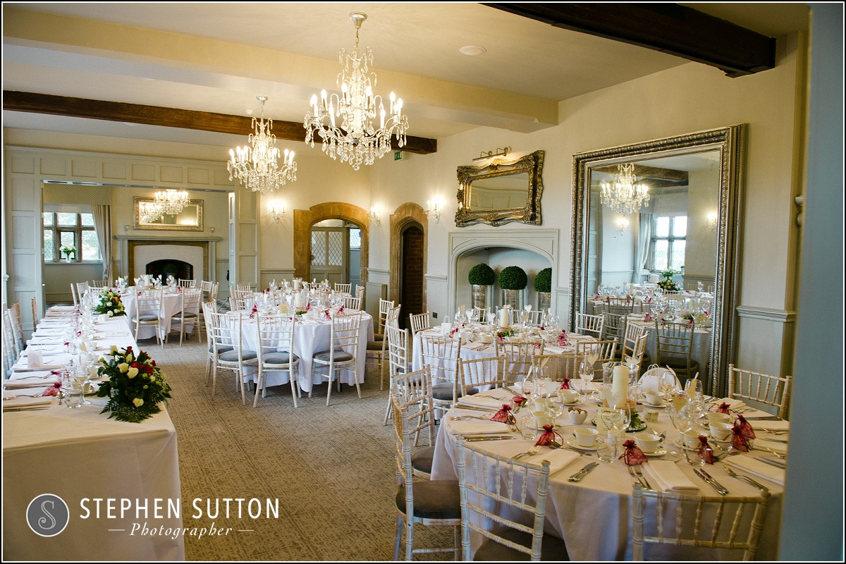 Weston Hall room laid out for wedding breakfast